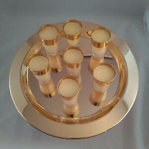 Elegant VotiveJar Candles 7 Candles Decorative Gold Tray Beautiful Center Piece