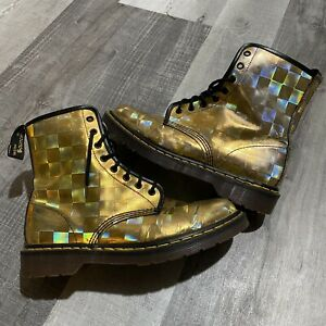 Vintage Dr. Marten Metallic Checkered Gold Holographic Made In England Boots 10