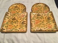 Lot of 2 - Vintage Sandwich & Drink Tray Hand Painted Alcohol Proof Fishes