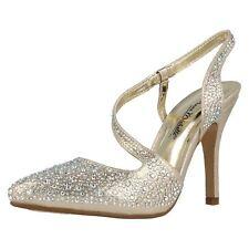 Ladies Anne Michelle Glitter Diamante Stiletto HEELS Court Shoes F9812 Gold UK 8