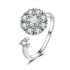 Silver Rotating Ring Sparking Clear Crystal Adjustable Engagement Ring For Women