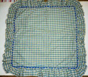 """Waverly garden room Pillow Sham or cushion Blue yellow plaid Ruffles 24x24"""""""