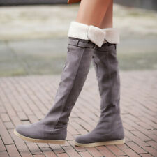 Over The Knee Boots For Women Flats Heel Stretch Pull on Winter Booties US 6