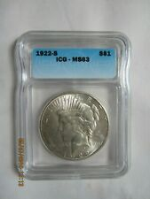 1922 S Peace Silver Dollar - Graded by ICG MS 63