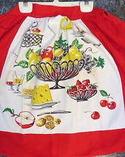 VINTAGE KITCHEN APRON ITALIAN TABLE LINEN PRINT FRUIT NUTS WINE CHEESE