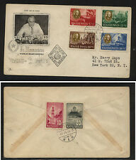Hungary B198a-d  Roosevelt first day cover to US        MS0722