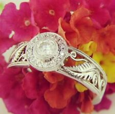 Gorgeous Vintage Sterling Silver Ring 0.50 Ct Moissanite Off White Round Cut