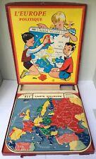 Puzzle plastique éducatif Europe Politique - Création MOB 1960's - TBE & Complet