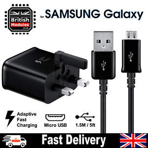 Fast Charger Head Black Plug and Charging Cable FOR SAMSUNG GALAXY S6 S7 EDGE