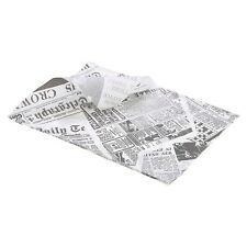 Greaseproof Paper White Newspaper Print 25 x 35cm Chippy Takeaway Cafe Bar x1000