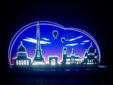 3D LED Arc Lumineux Verre acrylique Arches avec bois Paris Tour Eiffel 47x21cm