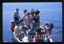 1963 Kodachrome Photo slide Girls in boat  Lady with camera