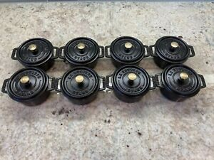 "Staub La Cocotte Black Cast Iron #10 Mini Round 3 7/8"" Dutch Oven Set of 8"