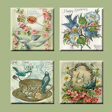 Set of 4 Ceramic tile magnet refrigerator vintage bird post card #001