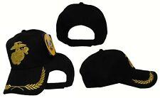 Embroidered USMC Marines Marine Corps Solid Black Gold Baseball Hat Cap (RUF)