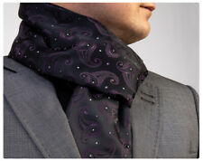 New Mens Double Side Scarf Silk Wool Blend Black with Purple Paisley Design