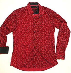 Baraba Signature Long Sleeve Button Up Dress Shirt Red Paisley Size Medium