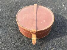 Vintage round brown leather collar & studs storage case