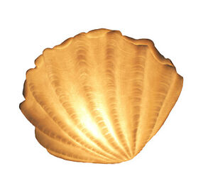 Zeckos White Sandstone Finish Vertical Scallop Shell Coastal Art Accent Lamp