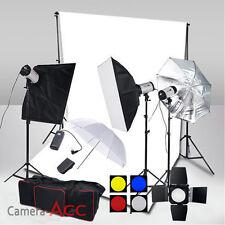 3x250W Flash Lighting Kit Pro Photo Studio Background Stand Free White Backdrop