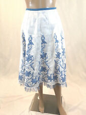 SNAK Anthropologie Size 2 Skirt Cotton Lined Floral White Blue