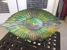 Large Peacock Blue Green Gold Colored Decorative Glass Charger With Black Stand