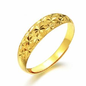 18ct Gold Plated Womens Simple Snow Flakes Open Adjustable Classic Wedding Ring