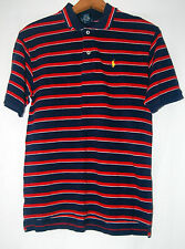Ralph Lauren Polo Young Mens Shirt Navy Blue Red Striped L 16 18 Cotton SS