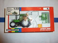 Britains  #9654 Deutz Fahr Tractor w/ Yard Scraper , Buck Rake and Accessories
