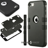 For iPod Touch 5th 6th Gen Blue Black Armor Hard Hybrid Defender Case Cover