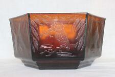 Art Deco Brown Glass Hexagonal 'Kingfisher' Bowl by Sherdley Glass