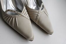 Ivory fabric heeled slingback shoes, diamante &pleat trim, size 8, worn once,vgc