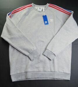 adidas originals Men's Grey Heather 3D Trefoil Fleece Sweatshirt #GE0805 NWT