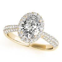 1.25 CT FOREVER ONE GHI  MOISSANITE OVAL MICRO PAVE HALO ENGAGEMENT RING