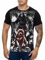 Skull T-Shirt Schwarz Sensenmann  Pit bull Rundhals Totenkopf John Kayna
