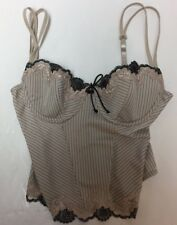 Sophie B Corset Bustier Size Medium Stripe And Lace Top  (A)