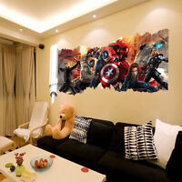 3D Wall Avengers Marvel Hulk Iron Man Thor Captain Vinyl Sticker Kids Room Decal