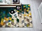 ILLUSION PRISM HAND TUFTED WOOL SOFT GEOMETRIC THICK GREEN MULTI RUG CIRCLE