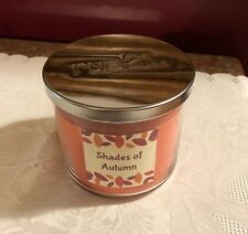 RUE 21 Shades of Autumn 3 wick candle with lid. New. Large Orange Rust Leaves
