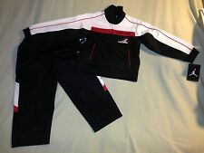 NWT JORDAN TRACK SUIT 2T RETRO 1 AJ 1 2 PIECE JACKET PANTS BLACK RED WHITE NIKE