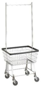 COMMERCIAL WIRE LAUNDRY BASKET CART W/HANGER RACK! NEW!