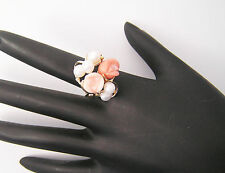 14kt Yellow Gold Cultured Pearl and Coral Flower Ring