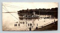 Lake Okoboji IA Double Decker Ferry Boat at Dock Swimmers Early 1900s Old Photo
