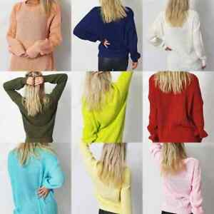 Women's Ladies Oversized Baggy Knitted Fishnet Jumper Long Sleeve Sweater Top
