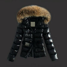 Womens Wet Look Puffer Coat Winter Shiny PU Padded Faux Fur Lady Jacket Hooded