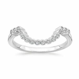 Summer Sale Diamond Antique Wedding Band Contour Guard Ring 14K White Gold Over