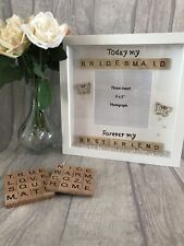 BRIDESMAID Thank you,Personalised Frame,Bridesmaid,Flower Girl, Maid of Honour,
