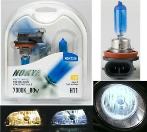 Nokya 7000K White H11 Nok7218 80W Two Bulbs Head Light Low Beam High Wattage Fit