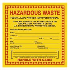 """Hazardous Waste, 6"""" x 6"""", Paper, Pack of 100 LBL-HAZ09-P-100"""