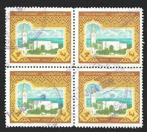 Kuwait 4d yellow used block of 4